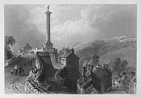 0095531 © Granger - Historical Picture ArchiveIRELAND: LONDONDERRY.   View of Walker's Pillar and the walls of Londonderry, Northern Ireland. Steel engraving, English, c1840, after William Henry Bartlett.