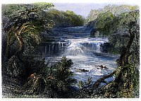 0102443 © Granger - Historical Picture ArchiveIRELAND: SALMON LEAP, c1840.   View of the Salmon Leap at the confluence of the rivers Liffey and Rye at Leixlip, County Kildare, Ireland. Steel engraving, English, c1840, after William Henry Bartlett.