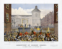 0622841 © Granger - Historical Picture ArchiveROBERT EMMET (1778-1803).   Irish nationalist and Republican. The public execution of Emmet in Thomas Street in Dublin, Ireland, 20 September 1803. Lithograph, c1878.