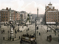 0622849 © Granger - Historical Picture ArchiveDUBLIN: STREET SCENE, c1895.   Sackville Street and O'Connell Bridge in Dublin, Ireland. Photochrome, 1895.