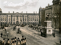 0622850 © Granger - Historical Picture ArchiveDUBLIN: COLLEGE GREEN.   College Green and statue of King William III, in Dublin, Ireland. Photochrome, c1895.