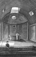 0017734 © Granger - Historical Picture ArchivePOMPEII: CALIDARIUM.   Calidarium, or hot bath, of the Forum Baths in Pompeii, Italy. Etching and engraving, English, 1831.