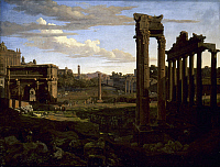 0038567 © Granger - Historical Picture ArchiveROME: FORUM.   View of the Forum at Rome from Capitoline Hill. Oil on canvas by Johann Heinrich Schilbach, 1826.