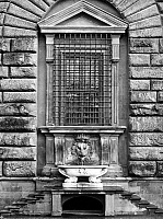 0039748 © Granger - Historical Picture ArchiveFLORENCE: PITTI PALACE.   A ground floor window of the Pitti Palace in Florence, Italy, with a lion's-head fountain under the sill.