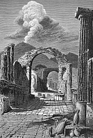 0041192 © Granger - Historical Picture ArchivePOMPEII: FORUM STREET.   Ruins of the street of the Forum. Wood engraving, 19th century.
