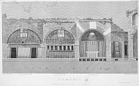 0041194 © Granger - Historical Picture ArchivePOMPEII: FORUM BATHS.   A cross-section view of the baths showing, left to right, frigidarium (cold room), tepidarium (medium room), and calidarium (hot room). Steel engraving, English, 1831.