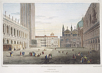 0045590 © Granger - Historical Picture ArchiveVENICE, 1820.   A view of the Piazzetta Di San Marco in Venice, Italy. Steel engraving, English, 1820, after a drawing by Elizabeth Batty.
