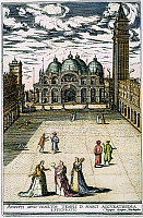 0060908 © Granger - Historical Picture ArchiveVENICE: ST MARK'S SQUARE.   View of St Mark's Square, Venice, Italy, showing the Cathedral and Campanile: colored German engraving, c1600.