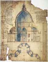 0063487 © Granger - Historical Picture ArchiveFLORENCE: BRUNELLESCHI.   Cross-section of Filippo Brunelleschi's design for the dome of Santa Maria del Fiore Cathedral in Florence, Italy. Contemporary drawing by Lodovico Cardi da Cigoli.