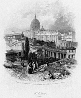 0065181 © Granger - Historical Picture ArchiveST. PETER'S BASILICA.   The Vatican, Rome, Italy. Steel engraving, English, 1834, by Edward Finden after James Duffield Harding.