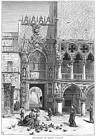 0070278 © Granger - Historical Picture ArchiveVENICE: PALACE ENTRANCE.   Entrance to the Doge's Palace, Venice, Italy. Wood engraving, c1875, by Edward Whymper after Harry Fenn.
