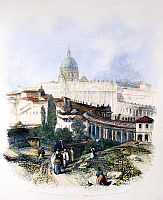 0081505 © Granger - Historical Picture ArchiveROME: THE VATICAN, 1834.   The Vatican, Rome, Italy, with a view of St. Peter's Basilica. Steel engraving, English, 1834, by Edward Finden after James Duffield Harding.
