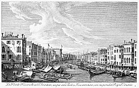 0087376 © Granger - Historical Picture ArchiveVENICE: GRAND CANAL, 1742.   The Grand Canal in Venice, Italy, looking southwest from the Rialto Bridge to the Palazzo Foscari. Line engraving, 1742, by Antonio Visentini after Canaletto.