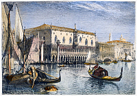0091603 © Granger - Historical Picture ArchiveVENICE: DUCAL PALACE.   View of the ducal palace in Venice, Italy. Wood engraving, c1875, after Harry Fenn.