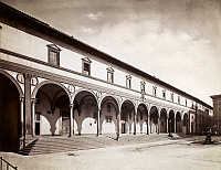 0095909 © Granger - Historical Picture ArchiveFLORENCE: ORPHANAGE.   View of the loggia of the Ospedale degli Innocenti, an orphanage in Florence, Italy, designed in the early 15th century by Filippo Brunelleschi. Photographed c1890.