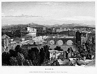 0095931 © Granger - Historical Picture ArchiveROME: SCENIC VIEW, 1833.   View of Rome, Italy, from above the Porta Santo Spirito looking toward the Campagna. Steel engraving, English, 1833, by Edward Finden after Clarkson Stanfield.