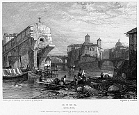 0095932 © Granger - Historical Picture ArchiveROME: PONTE ROTTO, 1833.   View of the Ponte Rotto, the ruins of the ancient Pons Aemilius on the Tiber River at Rome, Italy. Steel engraving, English, 1833, by Edward Finden after James Duffield Harding.