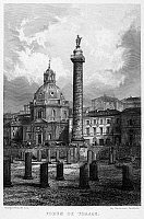 0095935 © Granger - Historical Picture ArchiveROME: FORUM OF TRAJAN.   View of the ruins of the Forum of Trajan (foreground), Trajan's Column, and the Church of Santa Maria di Loreto (left), in Rome, Italy. Steel engraving, French, c1855.