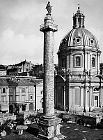 0095939 © Granger - Historical Picture ArchiveROME: TRAJAN'S COLUMN.   View of Trajan's Column in the Forum of Trajan, and the Church of Sacro Nome di Maria (right), in Rome, Italy. Photograph, early 20th century.