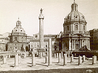 0095941 © Granger - Historical Picture ArchiveROME: FORUM OF TRAJAN.   View of the ruins of the Forum of Trajan (foreground), Trajan's Column (center), the Church of Santa Maria di Loreto (left), and the Church of Sacro Nome di Maria (right) in Rome, Italy. Photograph, late 19th century.