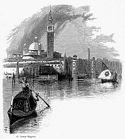 0096083 © Granger - Historical Picture ArchiveVENICE: SAN GIORGIO MAGGIORE.   View of the church and bell tower of San Giorgio Maggiore, Venice, Italy. Wood engraving, c1875, after Harry Fenn.