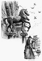 0096085 © Granger - Historical Picture ArchiveVENICE: ST. MARK'S HORSES.   Bronze horse statues at the front of St. Mark's Basilica, overlooking St. Mark's Square in Venice, Italy. Wood engraving, c1875, by Edward Whympter after Harry Fenn.