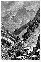0096100 © Granger - Historical Picture ArchiveITALY: CARRARA MOUNTAINS.   Scene at a marble quarry in the Carrara Mountains of Tuscany, Italy. Wood engraving, c1875, after Harry Fenn.