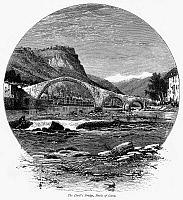 0096101 © Granger - Historical Picture ArchiveITALY: BAGNI di LUCCA, c1875.   View of the Devil's Bridge at Bagni di Lucca, on the Lima River in the north of Tuscany, Italy. Wood engraving, c1875, after Harry Fenn.