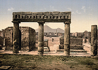 0109885 © Granger - Historical Picture ArchivePOMPEII: FORUM.   Ruins of the forum at the ancient Roman city of Pompeii, Italy. Photochrome, c1890-1900.