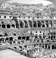 0120505 © Granger - Historical Picture ArchiveROME: COLOSSEUM, c1904.   Interior view of the ruins of the Colosseum in Rome, Italy, showing arcades and the dens beneath the arena. Stereograph, c1904.