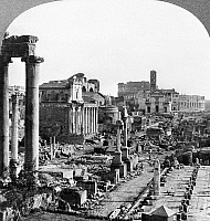 0120508 © Granger - Historical Picture ArchiveROME: FORUM, c1906.   A view of the ruins of the Forum and the Colosseum (rear) in Rome, Italy. Stereograph, c1906.