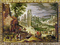 0124031 © Granger - Historical Picture ArchiveROMAN FORUM, 16TH CENTURY.   Peasants gathering at the ruins of the Roman Forum. Flemish painting, 16th century.