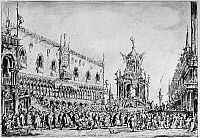 0216431 © Granger - Historical Picture ArchiveVENICE: GIOVEDI GRASSO.   The Festival of Giovedi Grasso on the Pizzetta in Venice, Italy. Drawing by Francesco Guardi, 18th century.