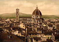 0267336 © Granger - Historical Picture ArchiveFLORENCE: CATHEDRAL.   A panoramic view of the Santa Maria del Fiore cathedral in Florence, Italy, from the Palazzo Vecchio. Photochrome, c1900.