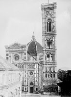0267338 © Granger - Historical Picture ArchiveFLORENCE: CATHEDRAL.   A view of the Santa Maria del Fiore cathedral in Florence, Italy, showing the campanile (right) designed by Giotto in the 14th century, and the dome designed by Filippo Brunelleschi, completed in 1436. Photographed c1917.