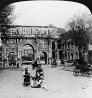 0326755 © Granger - Historical Picture ArchiveROME: ARCH OF CONSTANTINE.   The Arch of Constantine and the Colosseum in Rome, Italy. Stereograph, 1901.