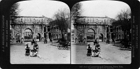 0326756 © Granger - Historical Picture ArchiveROME: ARCH OF CONSTANTINE.   The Arch of Constantine and the Colosseum in Rome, Italy. Stereograph, 1901.