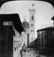 0326760 © Granger - Historical Picture ArchiveFLORENCE: CATHEDRAL.   A view of the Santa Maria del Fiore cathedral in Florence, Italy, showing the campanile (right) designed by Giotto in the 14th century, and the dome designed by Filippo Brunelleschi, completed in 1436. Stereograph, 1904.