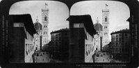 0326761 © Granger - Historical Picture ArchiveFLORENCE: CATHEDRAL.   A view of the Santa Maria del Fiore cathedral in Florence, Italy, showing the campanile (right) designed by Giotto in the 14th century, and the dome designed by Filippo Brunelleschi, completed in 1436. Stereograph, 1904.