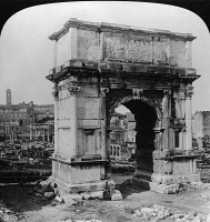 0326777 © Granger - Historical Picture ArchiveROME: ARCH OF TITUS, 1902.   The triumphal Arch of Titus, with the Forum and Capital in the background, Rome, Italy. Stereograph, 1902.