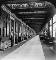 0326814 © Granger - Historical Picture ArchiveFLORENCE: UFFIZI GALLERY.   A corridor in the Uffizi Gallery in Florence, Italy. Stereograph, 1901.
