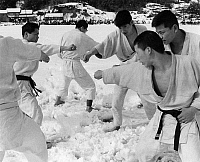 0259475 © Granger - Historical Picture ArchiveJAPAN: KARATE.   Young Japanese men practicing karate in the snow. Photograph, mid 20th century.