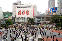 0622706 © Granger - Historical Picture ArchiveTOKYO: SHIBUYA CROSSING, 2008.   Crowds moving across the roadway at the Shibuya Crossing in Tokyo, Japan. Photograph by Christian Kruppa, 12 August 2008. Full Credit: ullstein bild - CARO / Christian Kruppa / Granger, NYC. All Rights Reserved.
