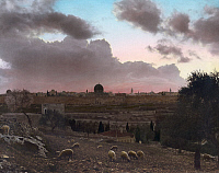 0130799 © Granger - Historical Picture ArchiveJERUSALEM, c1919.   View of Jerusalem at sunset, with a flock of sheep in the foreground. Hand-colored photograph, c1919.
