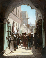 0130801 © Granger - Historical Picture ArchiveJERUSALEM: DAVID STREET.   David Street in Jerusalem. Hand-colored photograph, c1919.