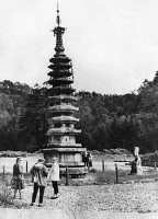 0119283 © Granger - Historical Picture ArchiveSOUTH KOREA: TOURISTS.   Western tourists visit the   octagonal tower of Woljeongsa Temple, Gangwon province, South Korea, late 1950s.