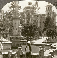 0324861 © Granger - Historical Picture ArchiveMEXICO CITY, c1920.   'Plaza and church of Santo Domingo, City of Mexico.' Stereograph, c1920.