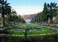 0126609 © Granger - Historical Picture ArchiveMONACO: MONTE CARLO, c1895.   The gardens in front of the entrance of the Monte Carlo casino in Monaco. Photochrome, c1895.