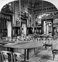 0126616 © Granger - Historical Picture ArchiveMONACO: MONTE CARLO, c1900.   Chairs and gambling tables in the ornate Salle de Jeu casino in Monte Carlo, Monaco. Stereograph, c1900.