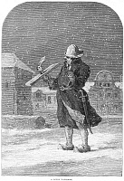 0078047 © Granger - Historical Picture ArchiveHOLLAND: WATCHMAN, 1870.   A Dutch watchman. Wood engraving, English, 1870.